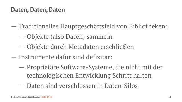 Daten, Daten, Daten  — Traditionelles Hauptgeschäftsfeld von Bibliotheken:  — Objekte (also Daten) sammeln  — Objekte durc...