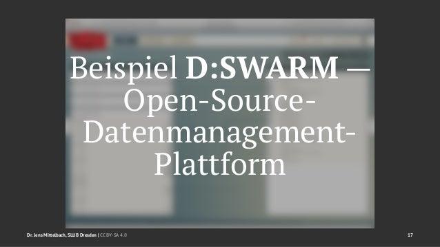 Beispiel D:SWARM —  Open-Source-  Datenmanagement-  Plattform  Dr. Jens Mittelbach, SLUB Dresden   CC BY-SA 4.0 17