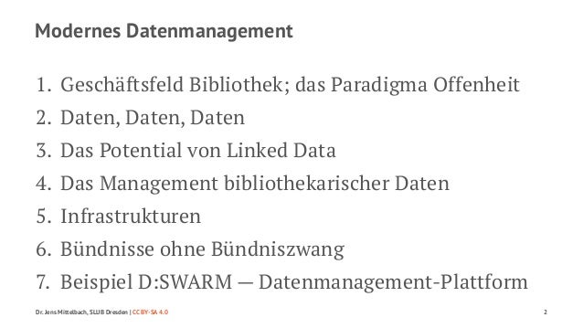Modernes Datenmanagement  1. Geschäftsfeld Bibliothek; das Paradigma Offenheit  2. Daten, Daten, Daten  3. Das Potential v...