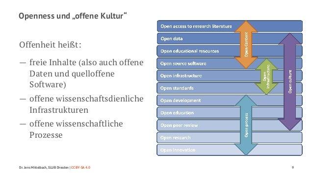 """Openness und """"offene Kultur""""  Offenheit heißt:  — freie Inhalte (also auch offene  Daten und quelloffene  Software)  — off..."""
