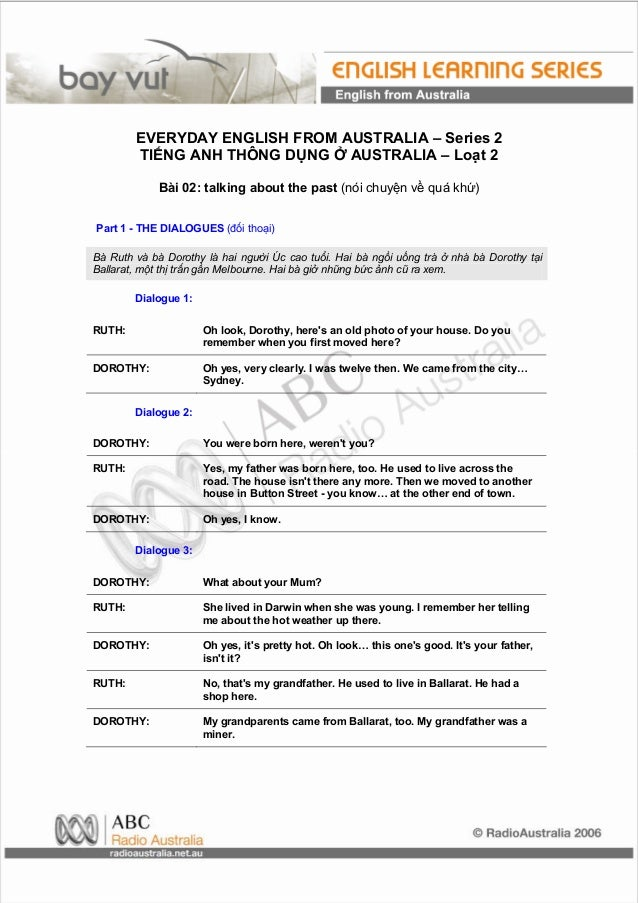 EVERYDAY ENGLISH FROM AUSTRALIA – Series 2        TIẾNG ANH THÔNG DỤNG Ở AUSTRALIA – Loạt 2             Bài 02: talking ab...