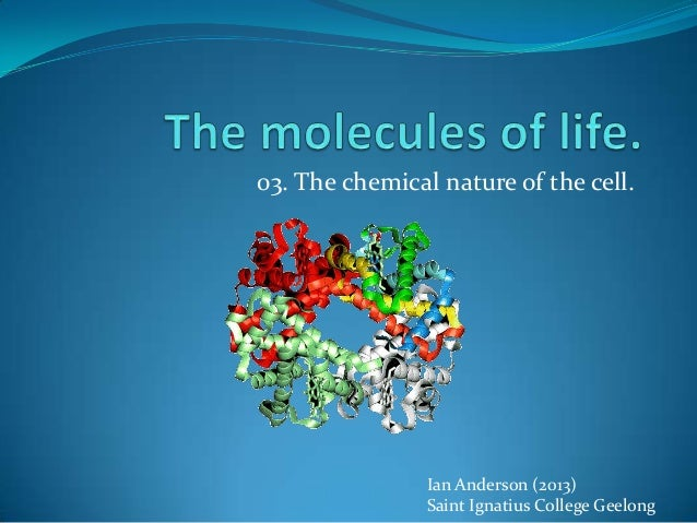 03. The chemical nature of the cell.                Ian Anderson (2013)                Saint Ignatius College Geelong