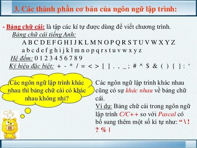 3. Các thành phần cơ bản của ngôn ngữ lập trình: - Bảng chữ cái: là tập các kí tự được dùng để viết chương trình. Bảng chữ...