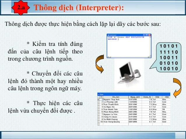2.a  Thông dịch (Interpreter):  Thông dịch được thực hiện bằng cách lặp lại dãy các bước sau: * Kiểm tra tính đúng đắn của...