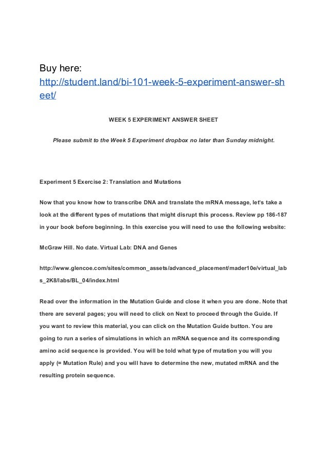 BI 101 Week 5 Experiment Answer Sheet