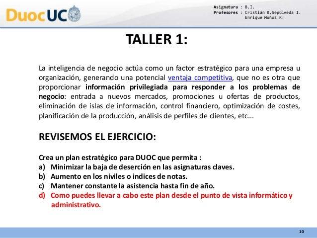 TALLER 1: La inteligencia de negocio actúa como un factor estratégico para una empresa u organización, generando una poten...