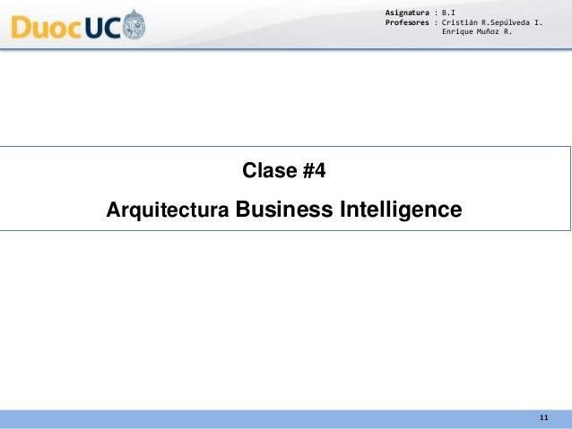 Clase #4 Arquitectura Business Intelligence Asignatura : B.I Profesores : Cristián R.Sepúlveda I. Enrique Muñoz R. 11