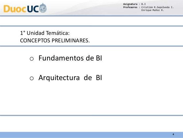 1° Unidad Temática: CONCEPTOS PRELIMINARES. o Fundamentos de BI o Arquitectura de BI Asignatura : B.I Profesores : Cristiá...