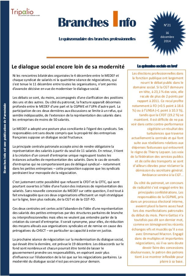 1 BranchesInfoestunepublicationdeParménide Branches Info N°16 29septembre2014 Branches Info Lequinzomadairedesbranchesprof...