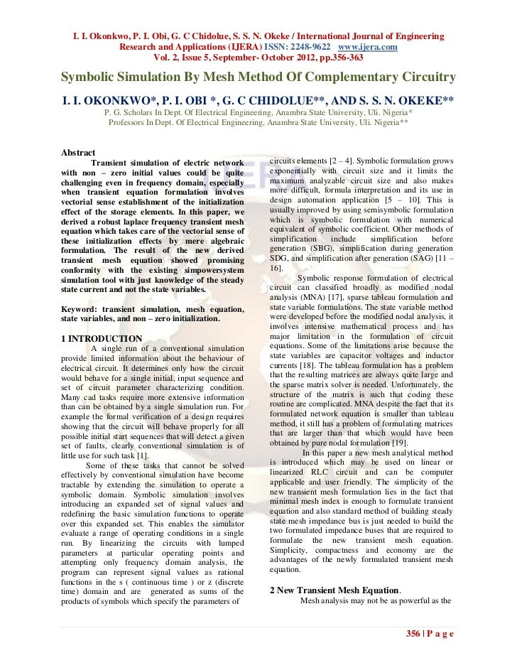 I. I. Okonkwo, P. I. Obi, G. C Chidolue, S. S. N. Okeke / International Journal of Engineering              Research and A...