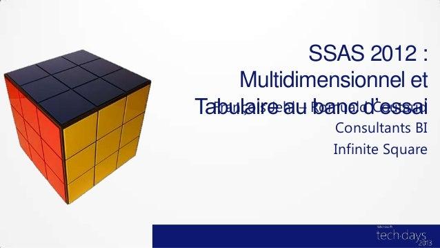 SSAS 2012 :      Multidimensionnel etTabulaire au Romuald Coutaud  François Jehl – banc d'essai                 Consultant...