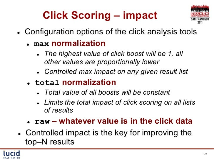 Click Scoring – impactl   Configuration options of the click analysis tools      l max normalization            l   ...