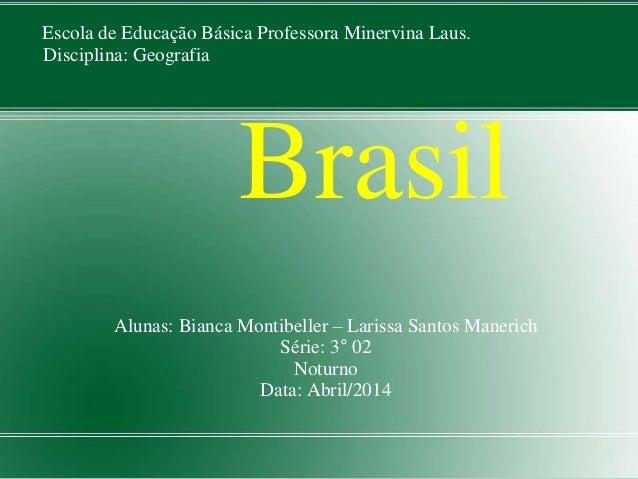 Escola de Educação Básica Professora Minervina Laus.  Disciplina: Geografia  Brasil  Alunas: Bianca Montibeller – Larissa ...