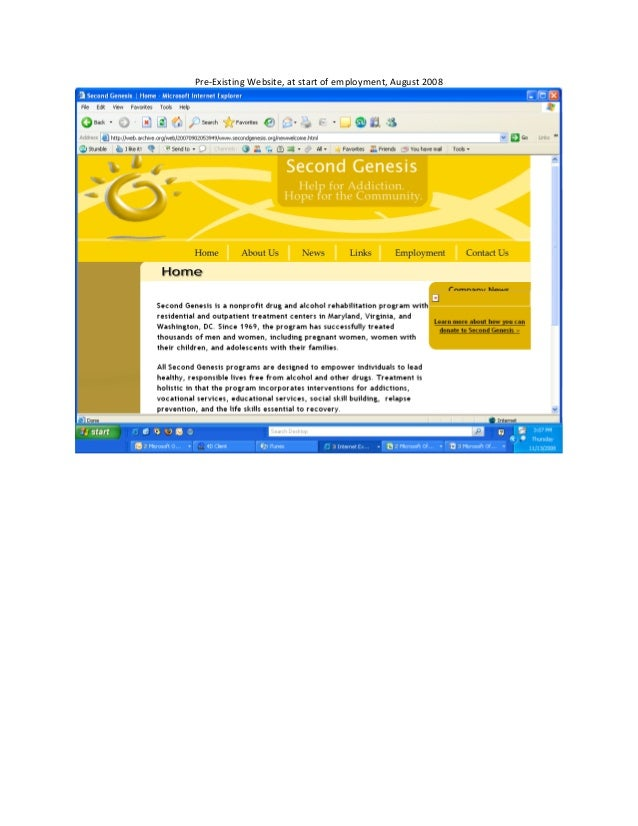Pre-‐Existing Website, at start of employment, August 2008                                               ...