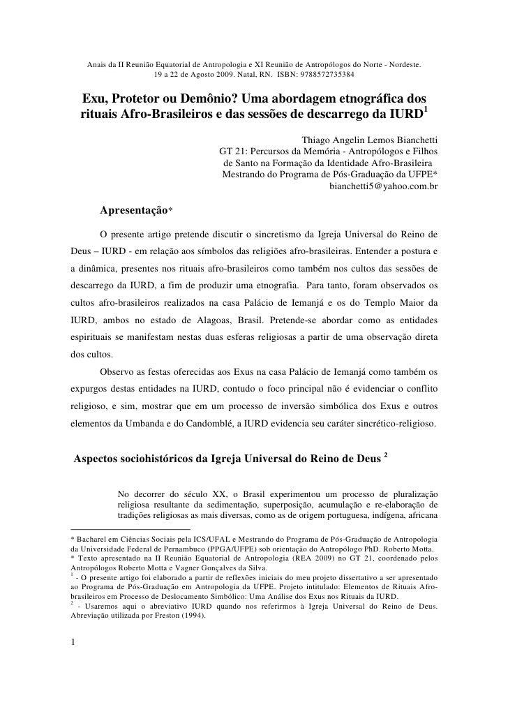 Anais da II Reunião Equatorial de Antropologia e XI Reunião de Antropólogos do Norte - Nordeste.                         1...