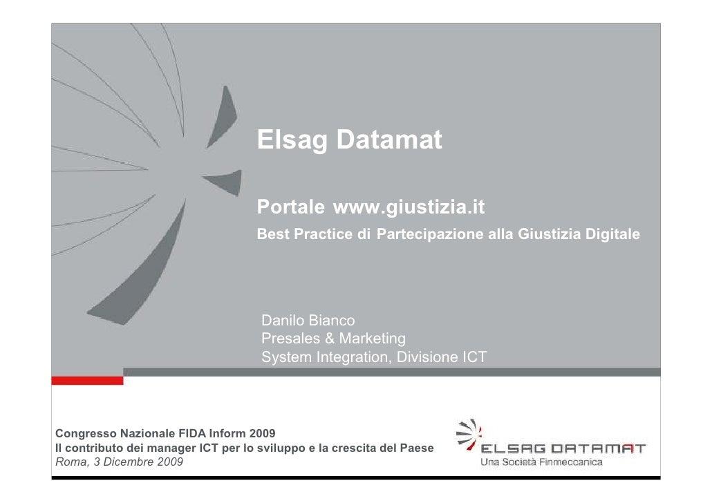 Elsag Datamat                                      Portale www.giustizia.it                                     Best Pract...