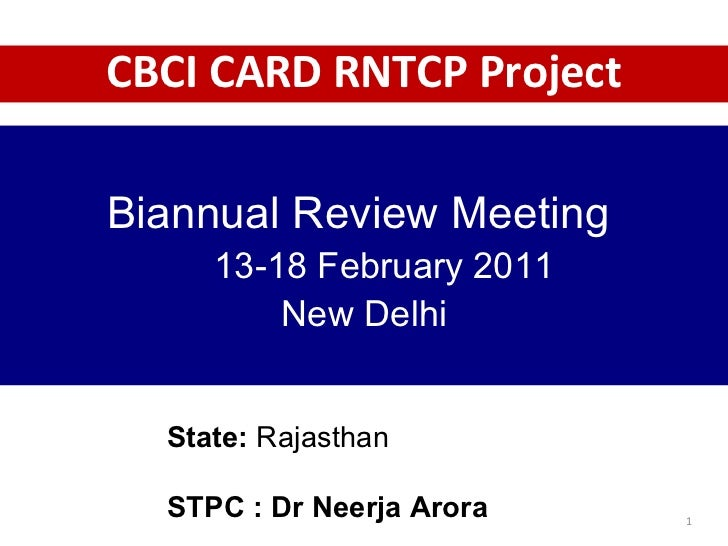 State:  Rajasthan   STPC : Dr Neerja Arora Biannual Review Meeting  13-18 February 2011  New Delhi CBCI CARD RNTCP Project