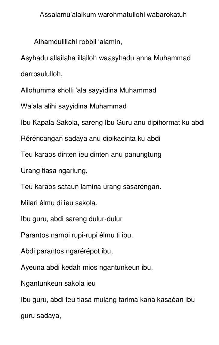 Assalamu'alaikum warohmatullohi wabarokatuh<br />Alhamdulillahi robbil 'alamin,<br />Asyhadu allailaha illalloh waasyhadu ...