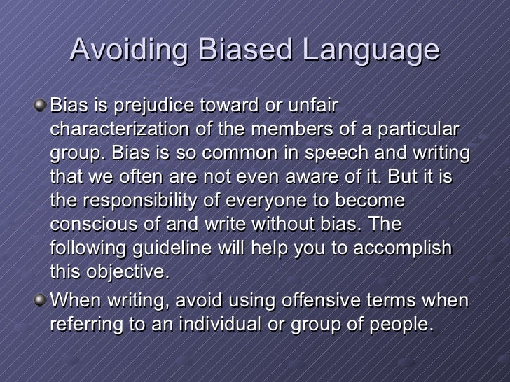 avoiding bias in writing