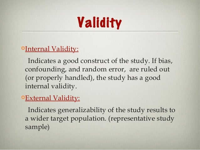 compare and contrast external validity and internal validity