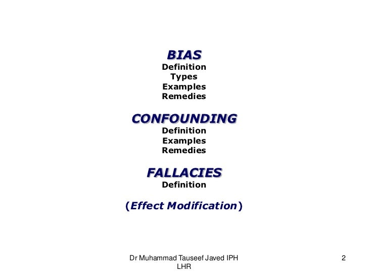 types of information bias The three main types of information bias are misclassification bias, ecological fallacy, and regression to the mean other information biases are also described.