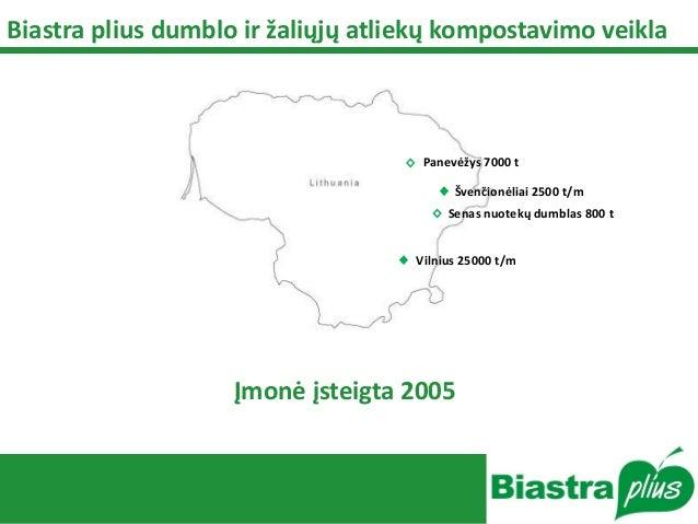 Įmonė įsteigta 2005 Panevėžys 7000 t Švenčionėliai 2500 t/m Senas nuotekų dumblas 800 t Vilnius 25000 t/m Biastra plius du...