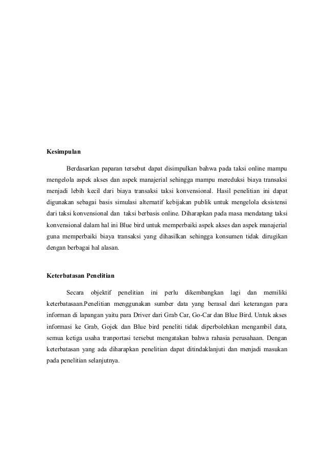 Kesimpulan Berdasarkan paparan tersebut dapat disimpulkan bahwa pada taksi online mampu mengelola aspek akses dan aspek ma...