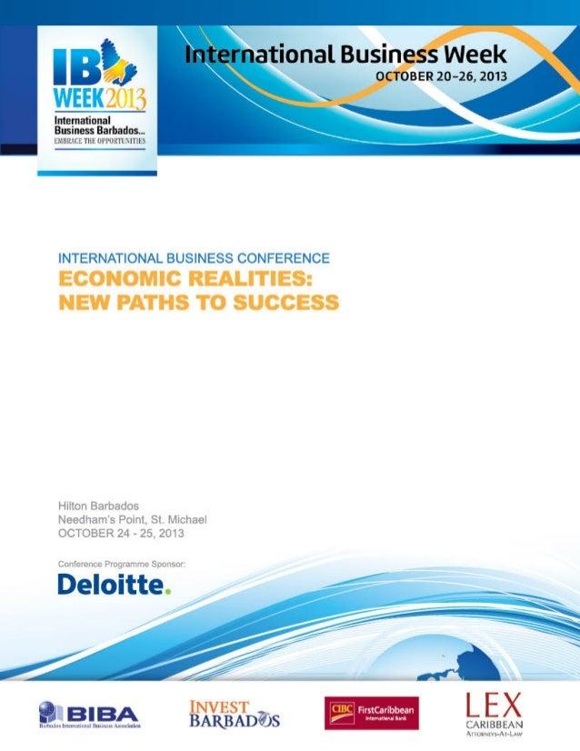 IBW 2013 International Business Conference Programme