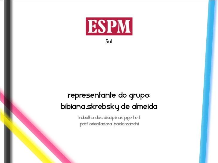 Sul Representante do grupo:Bibiana Skrebsky de Almeida    Trabalho das disciplinas PGE l e ll     Prof. Orientadora: Paola...