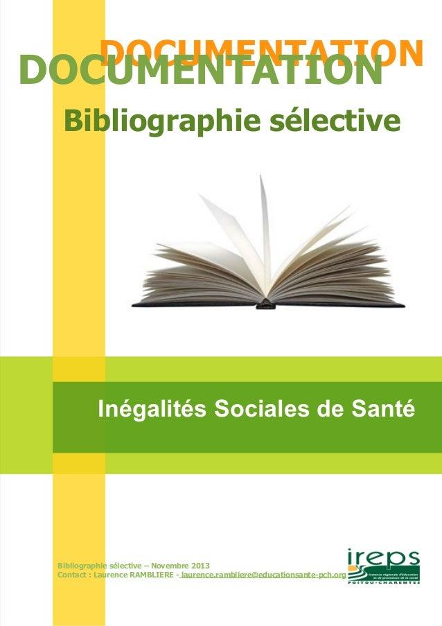 DOCDUOMCEUNMTEANTTIAOTINON  Bibliographie sélective  Inégalités Sociales de Santé  Bibliographie sélective – Novembre 2013...