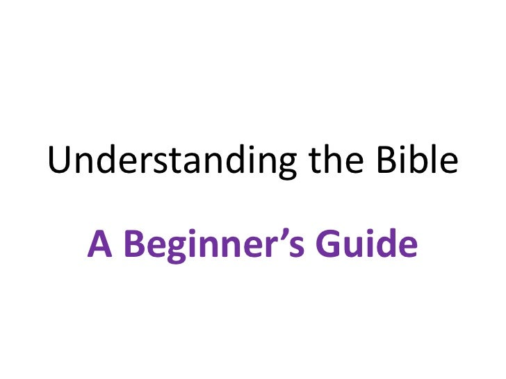 Understanding the Bible  A Beginner's Guide