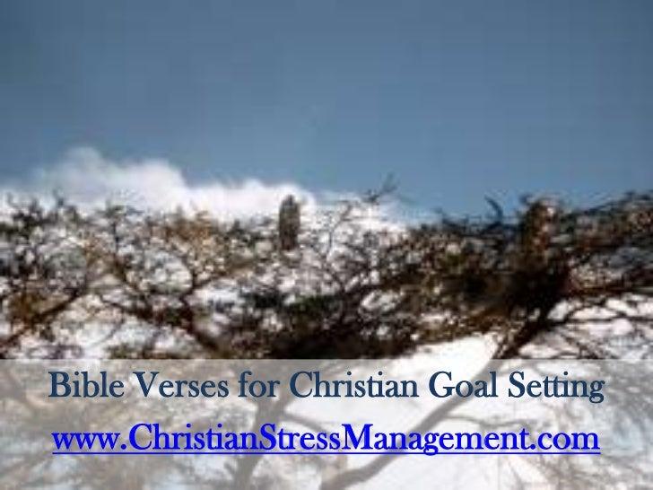 Bible Verses for Christian Goal Setting<br />www.ChristianStressManagement.com<br />