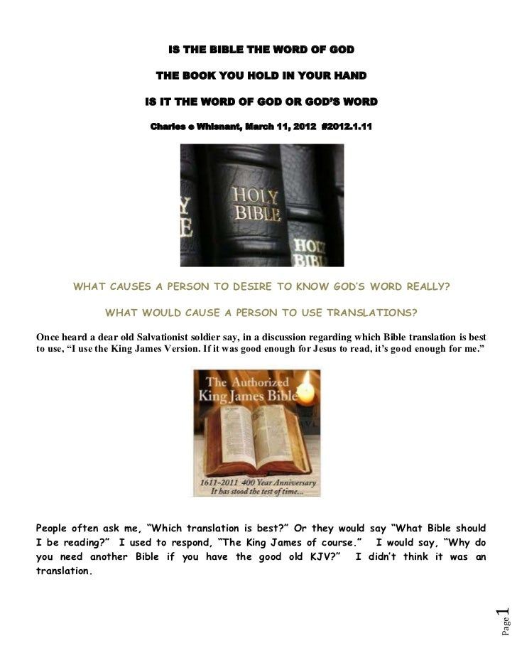 IS THE BIBLE THE WORD OF GOD                           THE BOOK YOU HOLD IN YOUR HAND                         IS IT THE WO...