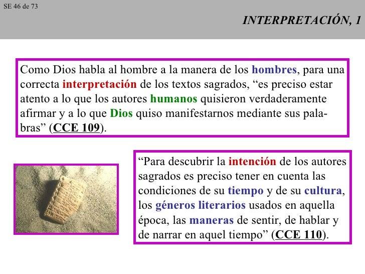 INTERPRETACIÓN, 1 Como Dios habla al hombre a la manera de los  hombres , para una correcta  interpretación  de los textos...