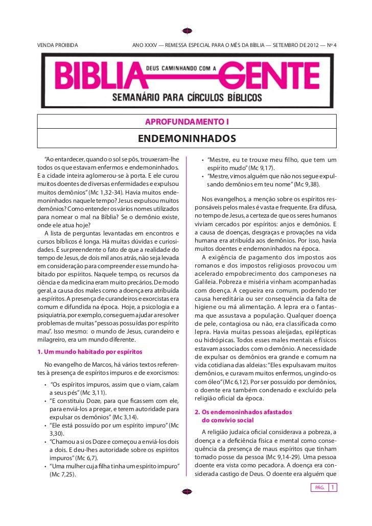VENDA PROIBIDA                      ANO XXXV — REMESSA ESPECIAL PARA O MÊS DA BÍBLIA — SETEMBRO DE 2012 — Nº 4            ...
