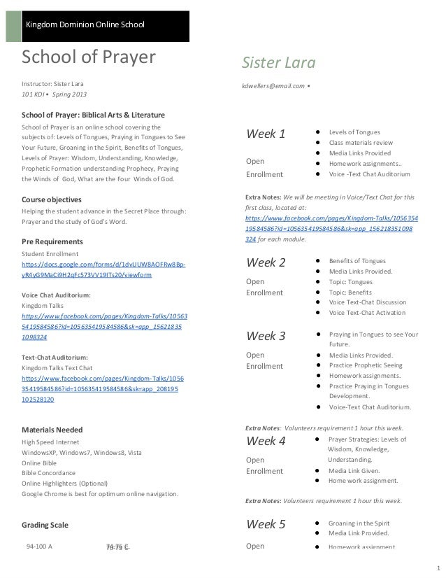 Kingdom Dominion Online SchoolSchool of PrayerInstructor: Sister Lara101 KDI • Spring 2013Sister Larakdwellers@email.com •...