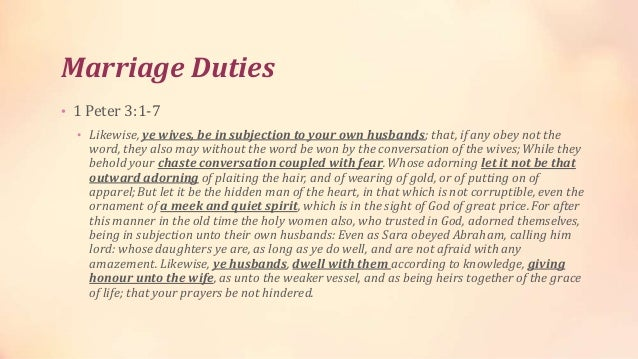 Biblical roles in dating