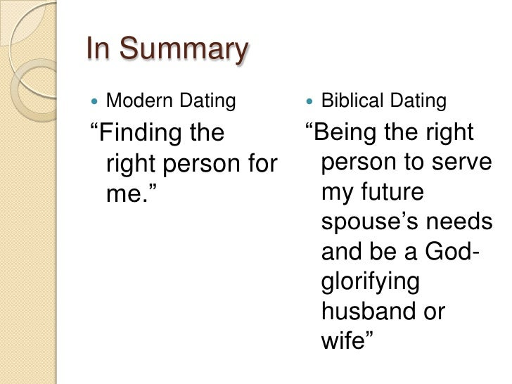 bible about dating