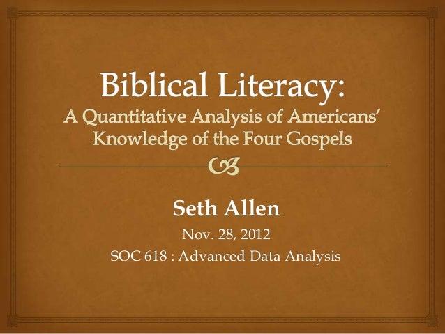 Seth Allen          Nov. 28, 2012SOC 618 : Advanced Data Analysis
