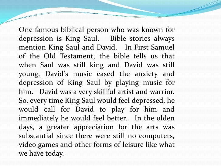 Biblical music therapy eases depression