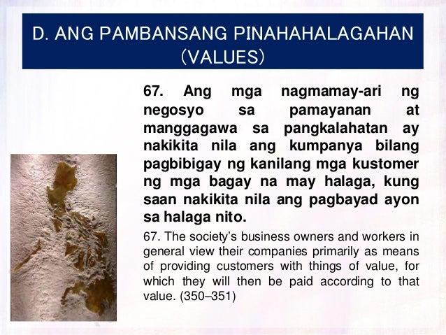 D. ANG PAMBANSANG PINAHAHALAGAHAN (VALUES) 67. Ang mga nagmamay-ari ng negosyo sa pamayanan at manggagawa sa pangkalahatan...