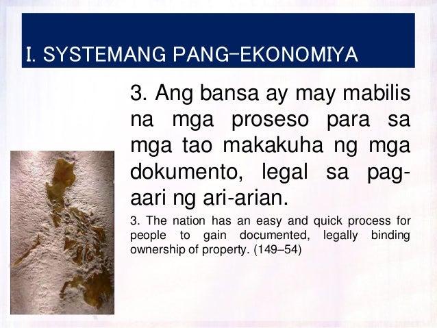 I. SYSTEMANG PANG-EKONOMIYA 3. Ang bansa ay may mabilis na mga proseso para sa mga tao makakuha ng mga dokumento, legal sa...