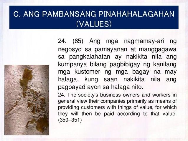 C. ANG PAMBANSANG PINAHAHALAGAHAN (VALUES) 24. (65) Ang mga nagmamay-ari ng negosyo sa pamayanan at manggagawa sa pangkala...
