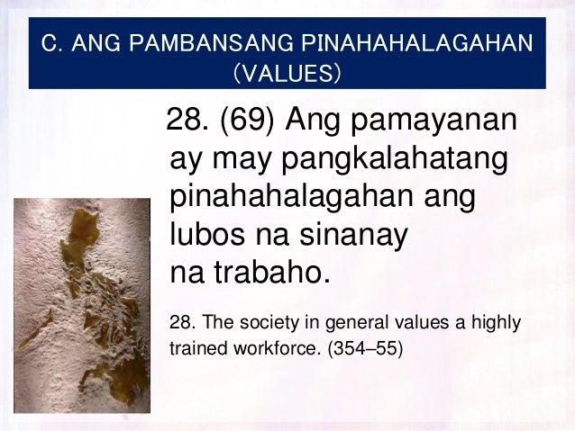 C. ANG PAMBANSANG PINAHAHALAGAHAN (VALUES) 28. (69) Ang pamayanan ay may pangkalahatang pinahahalagahan ang lubos na sinan...