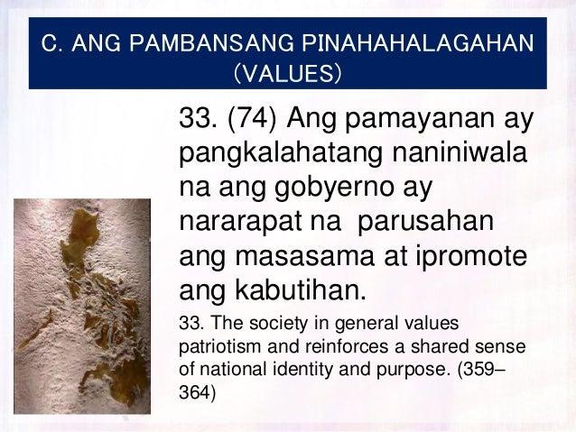 C. ANG PAMBANSANG PINAHAHALAGAHAN (VALUES) 33. (74) Ang pamayanan ay pangkalahatang naniniwala na ang gobyerno ay nararapa...