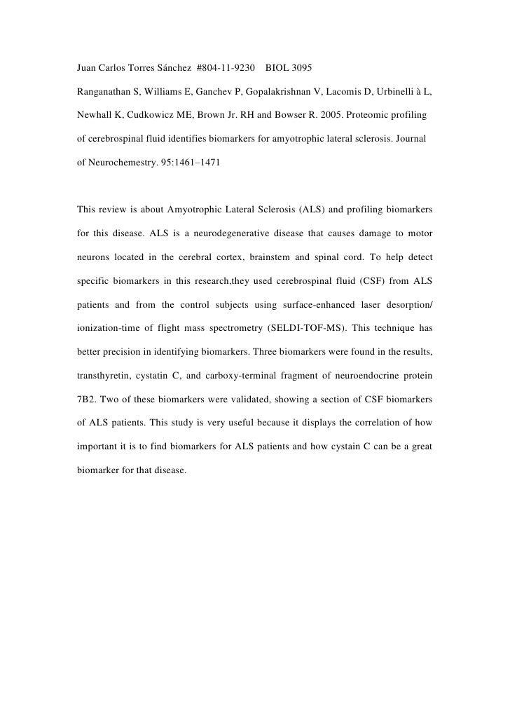 Juan Carlos Torres Sánchez #804-11-9230       BIOL 3095Ranganathan S, Williams E, Ganchev P, Gopalakrishnan V, Lacomis D, ...
