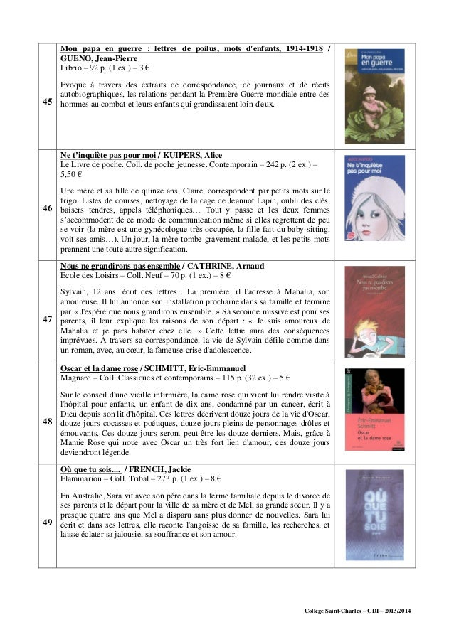 Collège Saint-Charles – CDI – 2013/2014 45 Mon papa en guerre : lettres de poilus, mots d'enfants, 1914-1918 / GUENO, Jean...