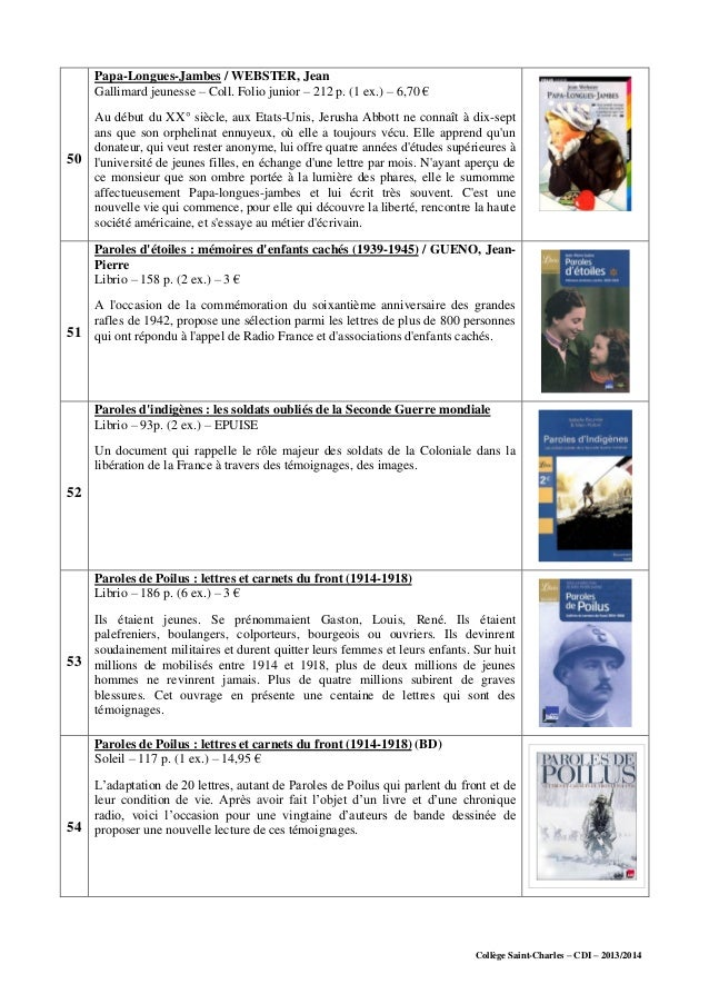 Collège Saint-Charles – CDI – 2013/2014 50 Papa-Longues-Jambes / WEBSTER, Jean Gallimard jeunesse – Coll. Folio junior – 2...