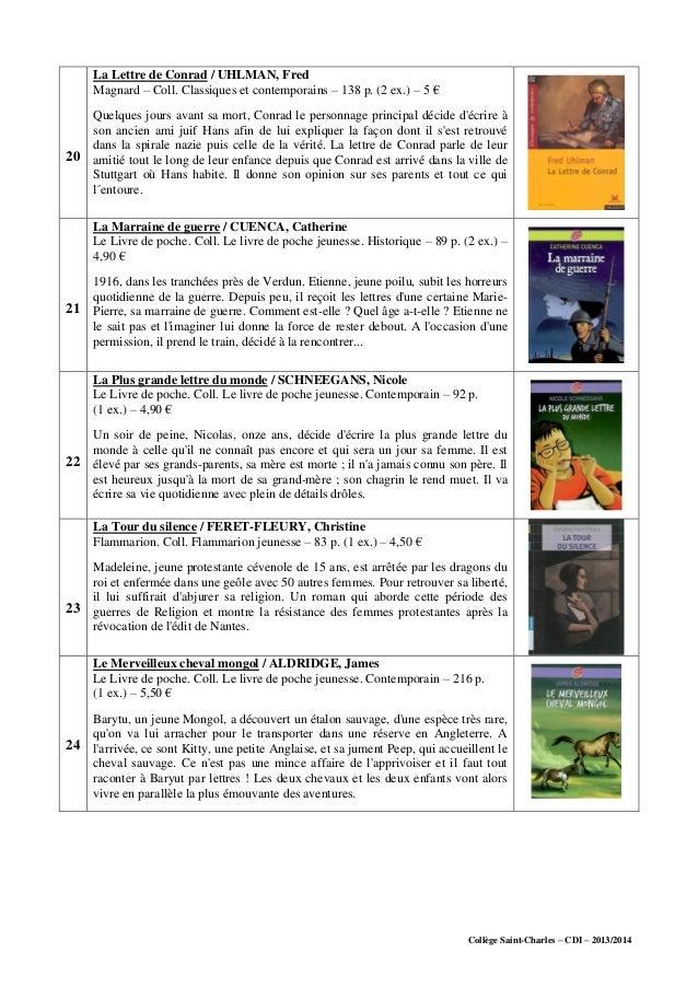 Collège Saint-Charles – CDI – 2013/2014 20 La Lettre de Conrad / UHLMAN, Fred Magnard – Coll. Classiques et contemporains ...