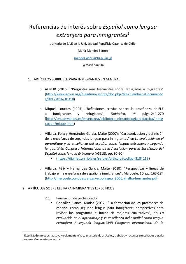 Referencias de interés sobre Español como lengua extranjera para inmigrantes1 Jornada de E/LE en la Universidad Pontificia...